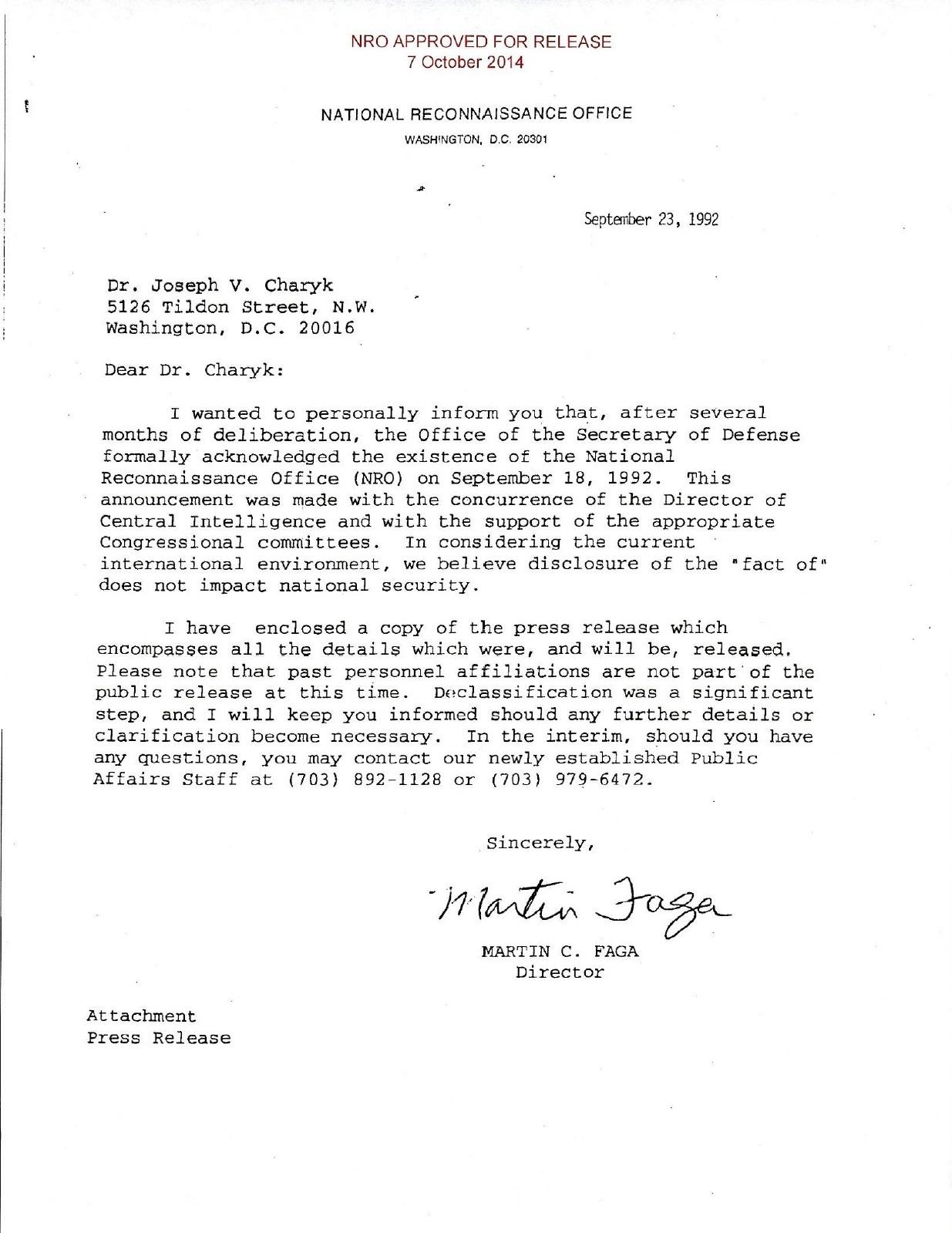 Letter Declassifying the NRO